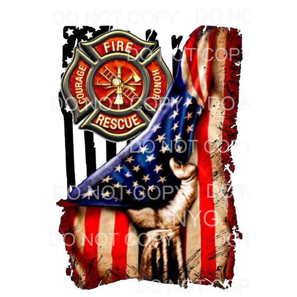 Flag Hand Fire fighter Sublimation transfers - Heat Transfer