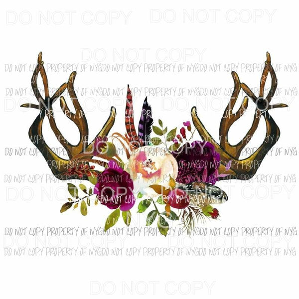 Floral antlers flowers feathers Sublimation transfers Heat Transfer