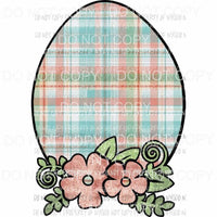 Floral Egg peach plaid Sublimation transfers Heat Transfer