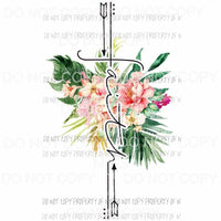 Floral Faith Cross Sublimation transfers Heat Transfer