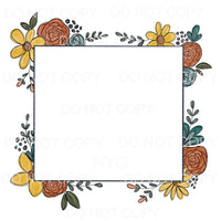 Floral Square Frame Sublimation transfers - Heat Transfer