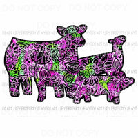Flower Animals group cow pig sheep Sublimation transfers Heat Transfer