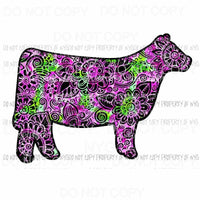 Flower Cow #2 Sublimation transfers Heat Transfer
