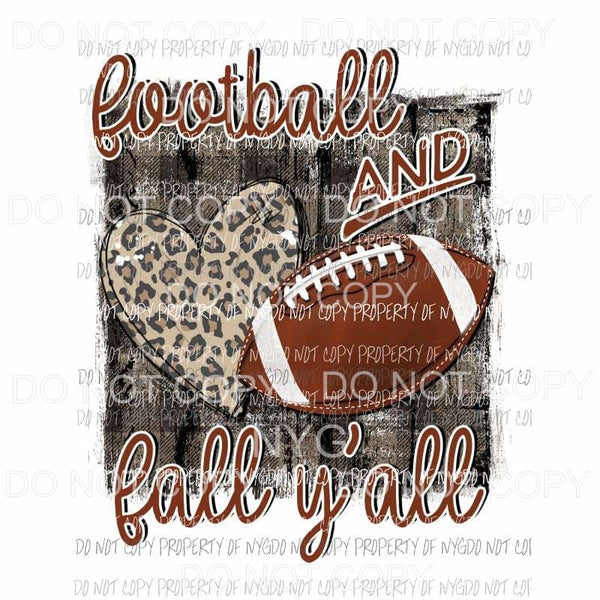 Football and Fall Yall leopard heart rustic wood Sublimation transfers Heat Transfer