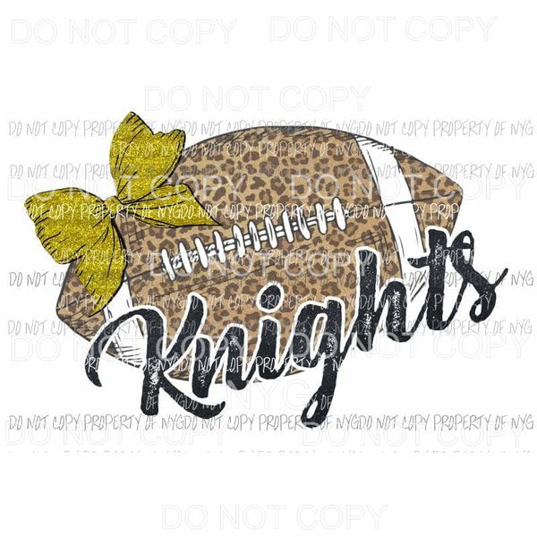 Football Leopard Knights BLACK AND GOLD Sublimation transfers Heat Transfer