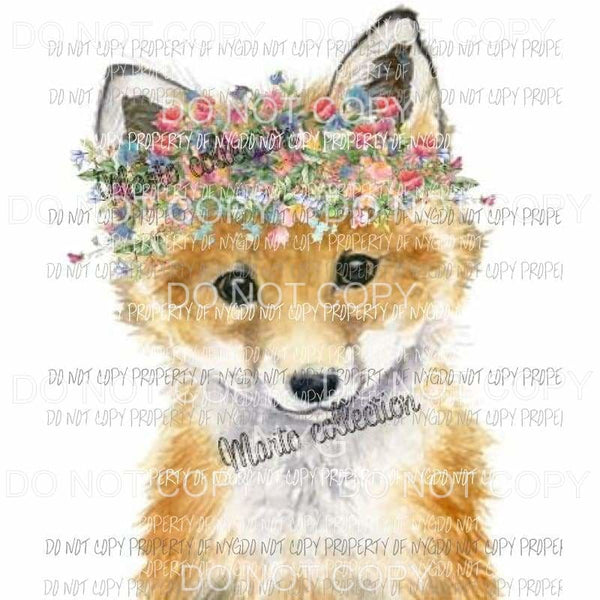 Fox with flowers sublimation transfers Heat Transfer