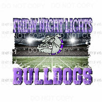 Friday Night Lights FNL BULLDOGS PURPLE Custom football Sublimation transfers Heat Transfer