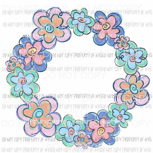 Funky Flower Wreath Pastel Sublimation transfers Heat Transfer