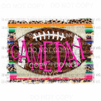 Game Day #2 pink football serape rustic wood Sublimation transfers Heat Transfer