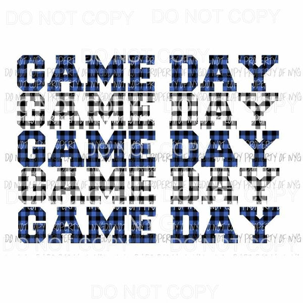 Game Day Blue and black plaid Sublimation transfers Heat Transfer