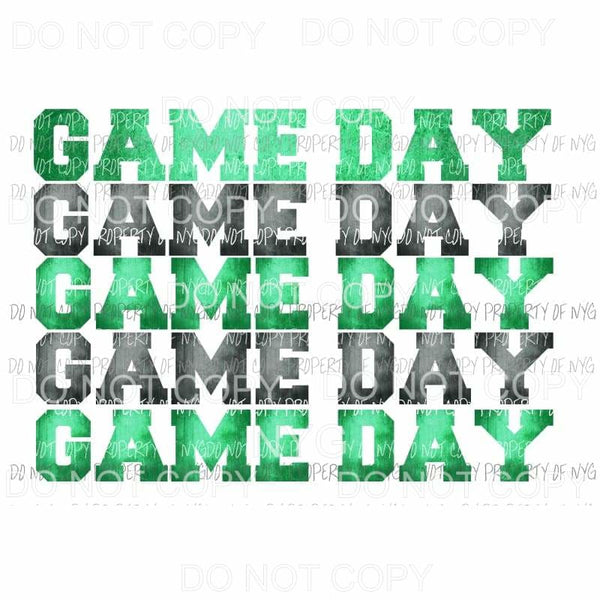 Game Day Green and black Sublimation transfers Heat Transfer