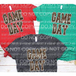 GAME DAY LEOPARD Full Color Screen Print can go on dark shirts and cotton too Heat Transfer