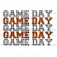 Game Day Orange and black plaid Sublimation transfers Heat Transfer