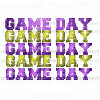 Game Day purple and yellow Sublimation transfers Heat Transfer