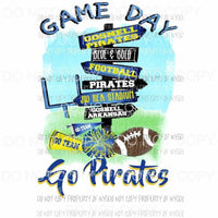 Game Day Sign custom Pirates Sublimation transfers Heat Transfer