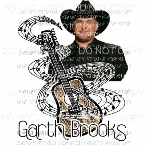 Garth Brooks Guitar Sublimation transfers Heat Transfer