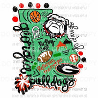 Georgia Bulldogs state Hand Drawn Sublimation transfers Heat Transfer