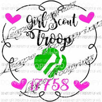 Girl Scout troop with hearts Sublimation Transfer Read Description Please Heat Transfer