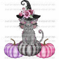 Glamorous Pumpkin Cat pink black witches hat flowers Sublimation transfers Heat Transfer