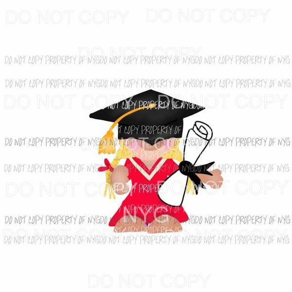 Gnome Girl Graduation Sublimation transfers Heat Transfer