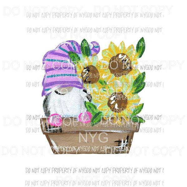 Gnome Sunflower Garden Pot Sublimation transfers Heat Transfer