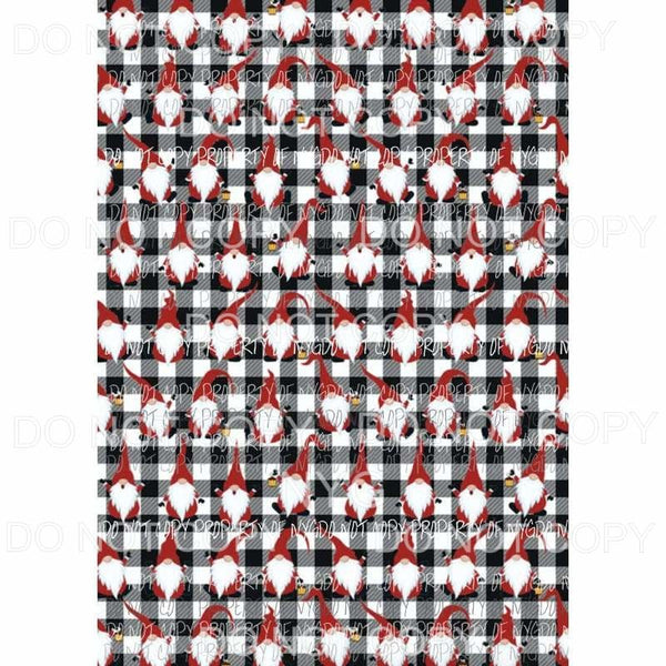 Gnomes Black Plaid Sheet Sublimation transfers 13 x 9 inches Heat Transfer