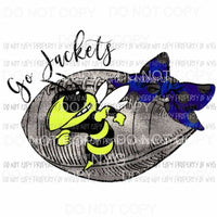 Go jackets Football Blue and yellow Sublimation transfers Heat Transfer