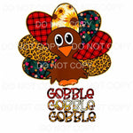 Gobble Gobble Gobble Patchwork Turkey Sublimation transfers