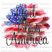 God bless America Flower flag Sublimation transfers usa 4th of july america Heat Transfer