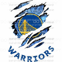 Golden State Warriors ripped design Sublimation transfers Heat Transfer