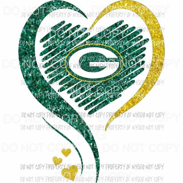 Green Bay Packers heart green gold glitter Sublimation transfers Heat Transfer