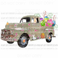 Green Easter Bunny Truck Sublimation transfers Heat Transfer