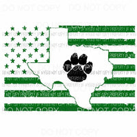 Green Texas flag Paw bulldogs Sublimation transfers Heat Transfer