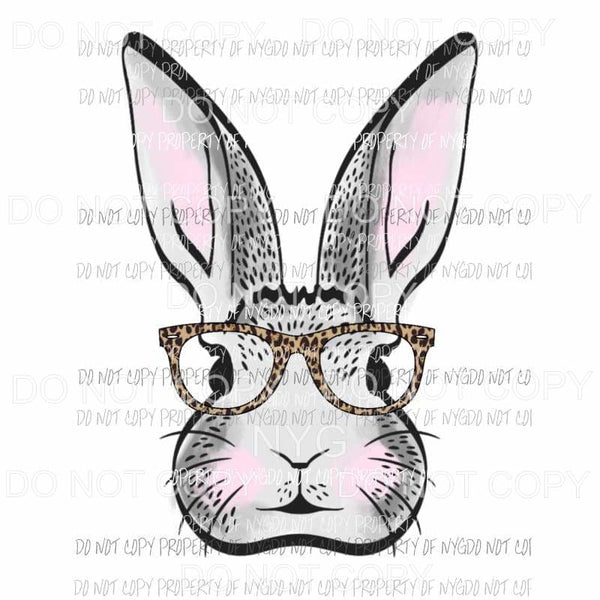Grey Bunny with Glasses Sublimation transfers Heat Transfer