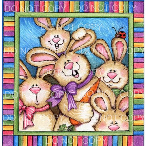 Group of Rabbits Multi Color Frame Sublimation transfers -