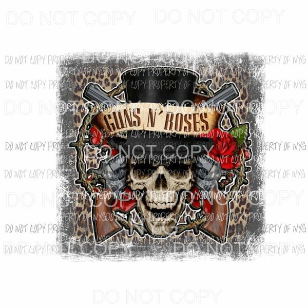 Guns N Roses #2 leopard skull hat guns Sublimation transfers Heat Transfer
