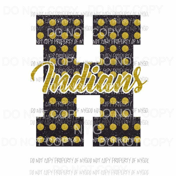 H Indians school letter Sublimation transfers Heat Transfer
