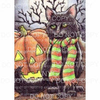 Halloween Black Cat Pumpkin # 2 Sublimation transfers Heat Transfer