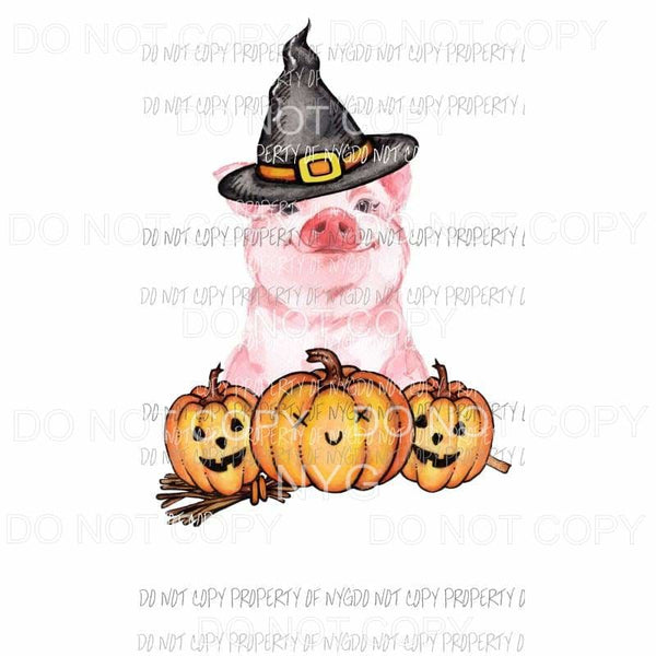 Halloween Piggy wearing witch hat pumpkins Sublimation transfers Heat Transfer