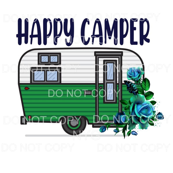 Happy Camper Blue Green Flowers Sublimation transfers - Heat