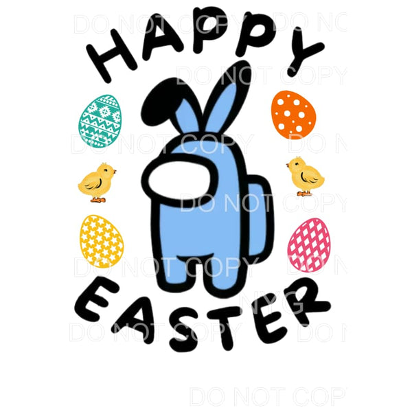 Happy Easter Among Us Blue Sublimation transfers - Heat