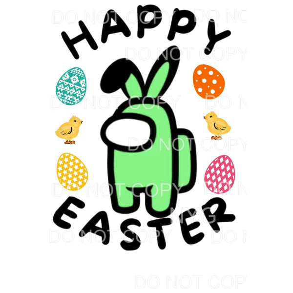 Happy Easter Among Us Green Sublimation transfers - Heat