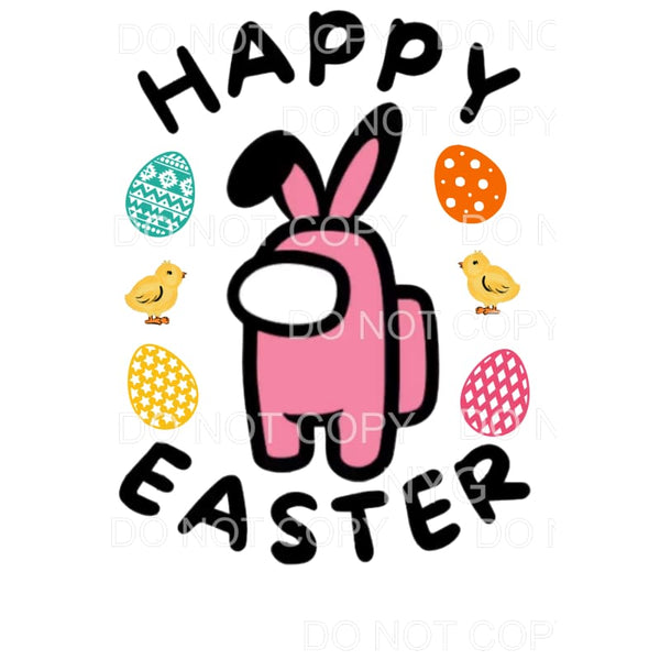 Happy Easter Among Us Pink Sublimation transfers - Heat