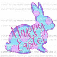 Happy Easter Bunny blue purple polka dots Sublimation transfers Heat Transfer