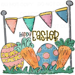 Happy Easter Scene Eggs Carrots Banner Sublimation transfers