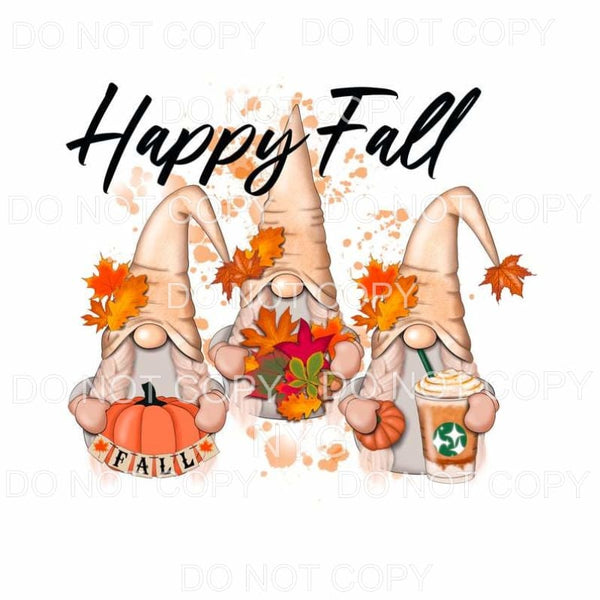 Happy Fall Gnomes Pumpkin Leaves Sublimation transfers -