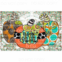Happy Fall Yall 3 pumpkins turquoise background Sublimation transfers Heat Transfer