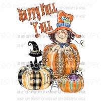 happy fall yall pumpkins scarecrow spider cat 1 hand drawn Sublimation transfers Heat Transfer