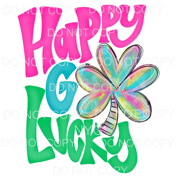 Happy Go Lucky Colorful Shamrock Sublimation transfers -