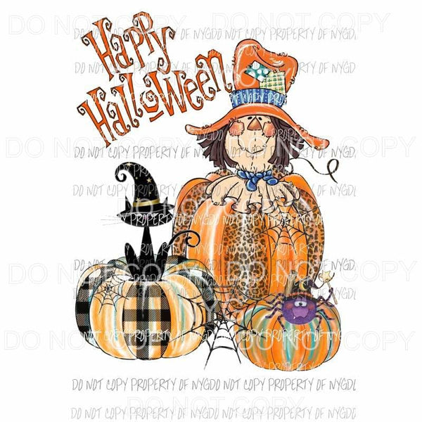 Happy Halloween pumpkins scarecrow spider cat hand drawn Sublimation transfers Heat Transfer